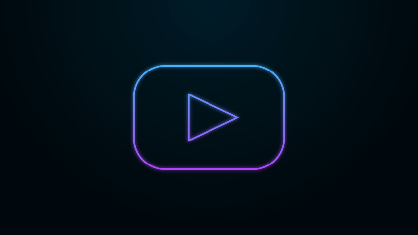 Glowing neon line Play icon isolated on black background. 4K Video motion graphic animation | Shutterstock HD Video #1059923480