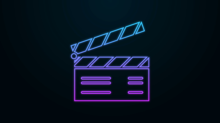 Glowing neon line Movie clapper icon isolated on black background. Film clapper board. Clapperboard sign. Cinema production or media industry concept. 4K Video motion graphic animation