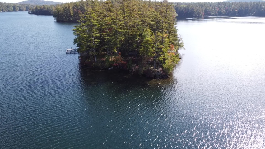 Drone aerial of island in Squam Lake New Hampshire