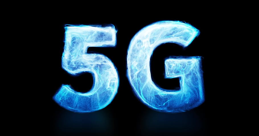 5G motion graphic with fluid, swirling particles. Energy plasma floating and energizing 5G logo. 5G network, high-speed mobile Internet, new generation networks concept. 3D render. 4K seamless loop Royalty-Free Stock Footage #1059930443