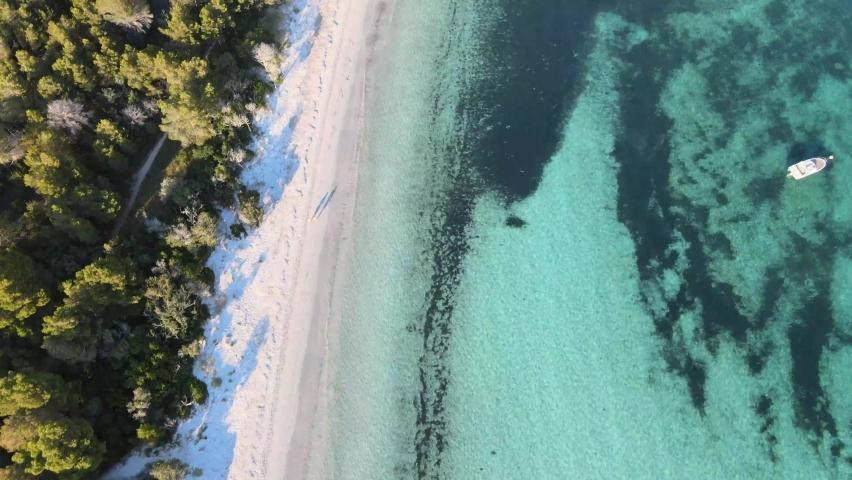 Fantastic drone shooting of the splendid sea and the beach of pinarellu with the coast near Porto Vecchio corsica