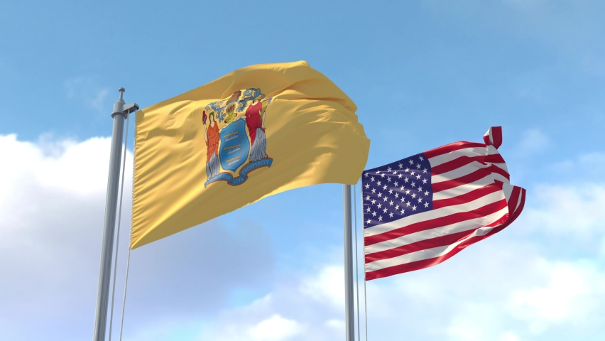New Jersey and USA Flags on a flagpole realistic wave on wind. The State of New Jersey in The United States of America. Trenton. Luma Mattes for background cutting