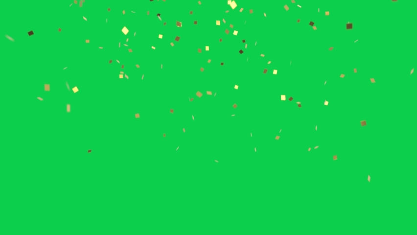 Gold confetti falling 3d animation 4K 30fps
