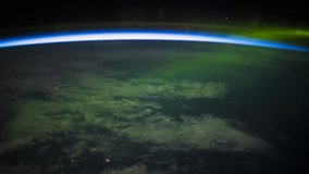 ISS Time-lapse Video of Earth seen from the International Space Station with dark sky and Aurora Borealis at night over Alberta to Quebec Canada, Time Lapse Full HD. Images courtesy of NASA.