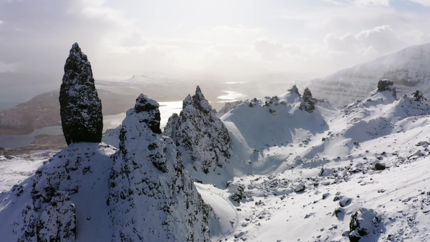 Rock needle 'Old man of Storr', Portree, Isle of the Sky, Scotland