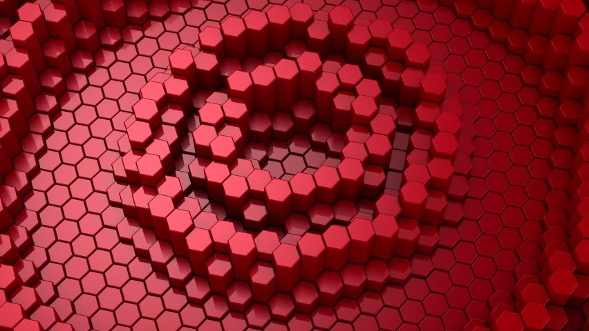 Hexagons Form A Wave. Loop background, 4 in 1, 3d rendering, 4k resolution