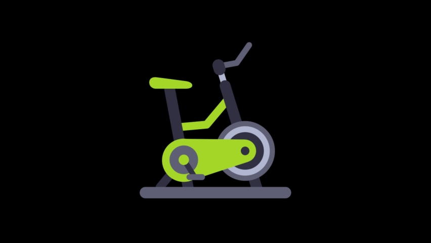 Exercise bike animated icon with black png background. More elements in our portfolio.
