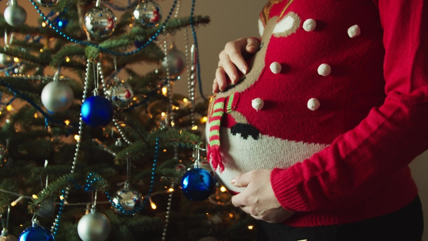 A pregnant woman spending her first Christmas with her baby, Xmas tree with decorations | Shutterstock HD Video #1059981350
