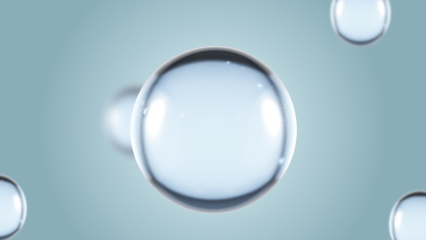 Macro Liquid Bubbles slow movement .bubbles water.Liquid Cream gel transparent cosmetic sample texture with bubbles isolated on white background. 3d animation of Cosmetic cream seamless. Transparent