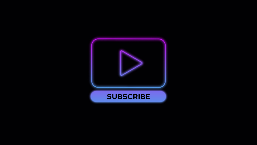 Animated subscribe and play button subscribe to channel, blog. Marketing animation video. social media promotion. neon glow notification Alpha channel. transparent background. trendy player icon