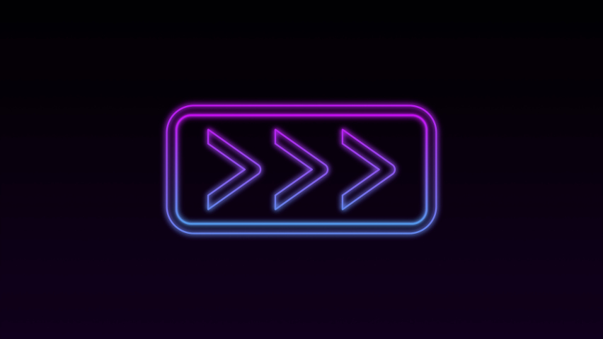 Arrows Animation of gradient blue signal with a black background. disco glow light shows direction. Neon sign for promo, ad banners, news, presentations, online media, social media. looped 4k footage