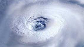 Destructive Hurricane Tornado over the Ocean. Satellite View. Elements of this video furnished by NASA. 4K Resolution.