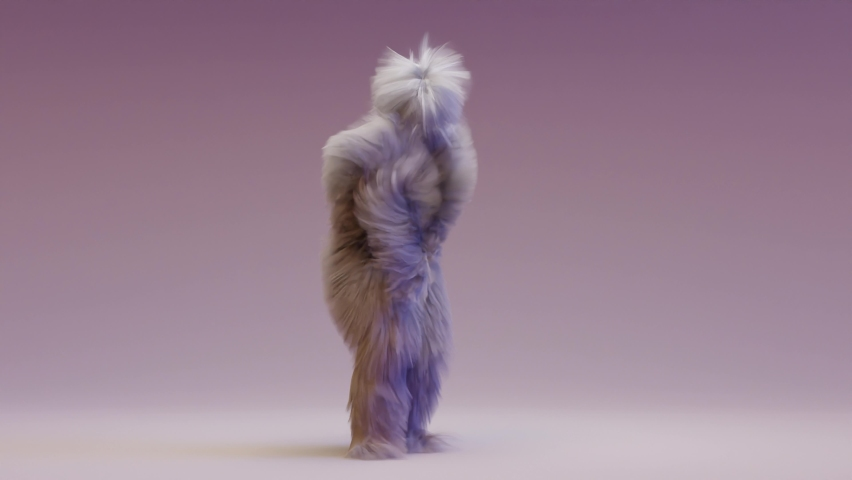 Hairy Monster Dancing clip isolated. loop animation, house dance, fur bright funny fluffy character, fur, full hair, snowman, 3d render. Sneaking out.