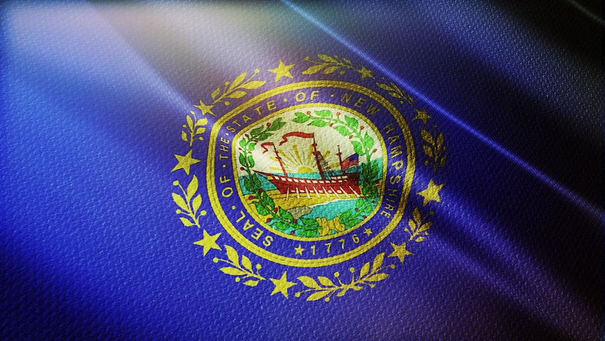 State of new Hampshire flag is waving 3D animation. new hampshire flag waving in the wind. National flag of new hampshire. flag seamless loop animation. 4K
