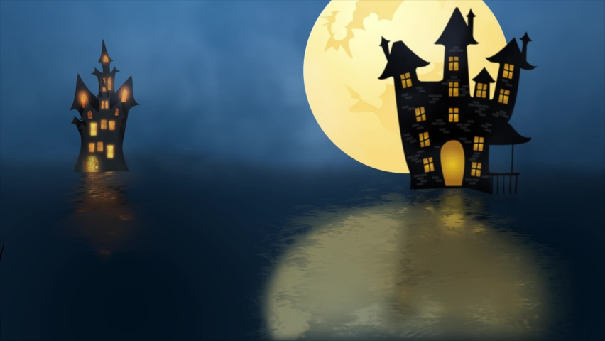 Halloween Spooky Dark Background - Witch Flying over the moon and haunted house with ghosts - 4K animation Halloween Background | Shutterstock HD Video #1060012421