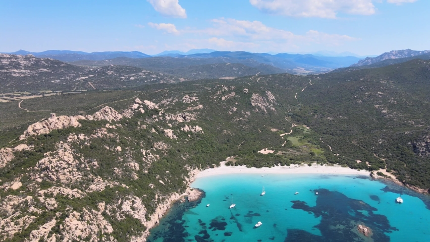 Footage from the drone of the wonderful beach of roccapina in southern Corsica
