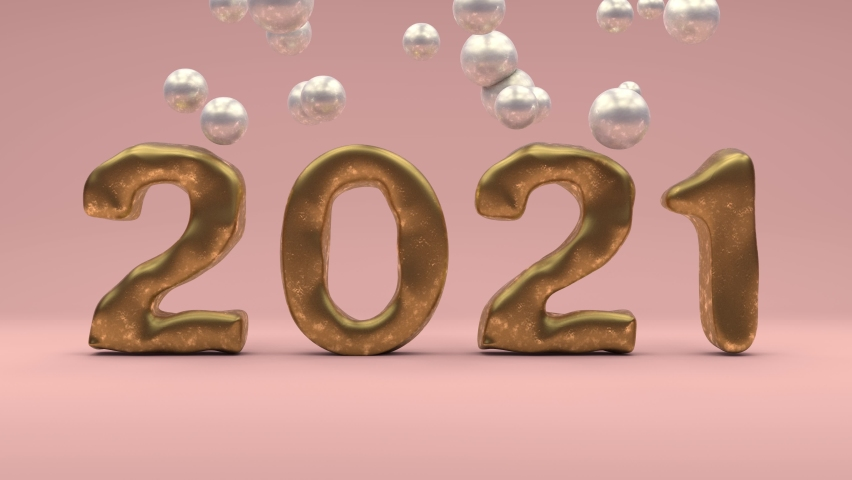 3D animation of Golden text, the date of 2021 new year and silver drops, soft spheres that fall from the top. New year animation for banners. The idea of a bright future, prosperity and success.