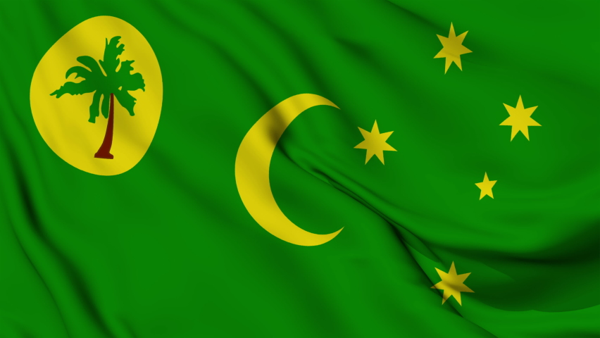 Flag of the Keeling Territory of Cocos Islands fluttering in the wind