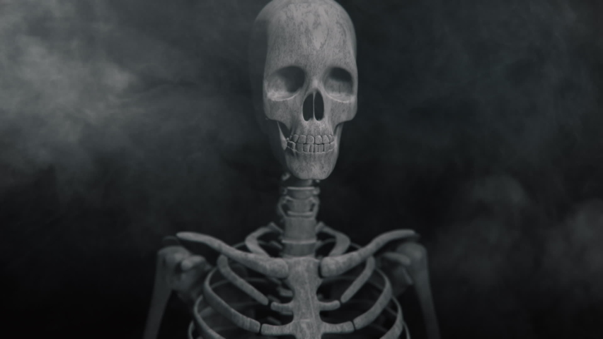 Animation of the appearance of a skull or skeleton from the darkness. Horror scene or Halloween decoration. | Shutterstock HD Video #1060018679