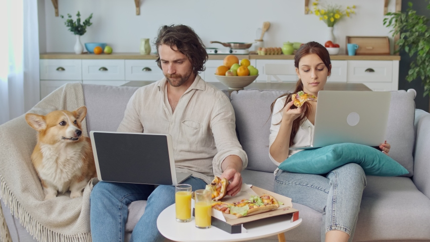 Young Couple Sitting on the Couch Together Eating a Pizza and Working With a Laptop