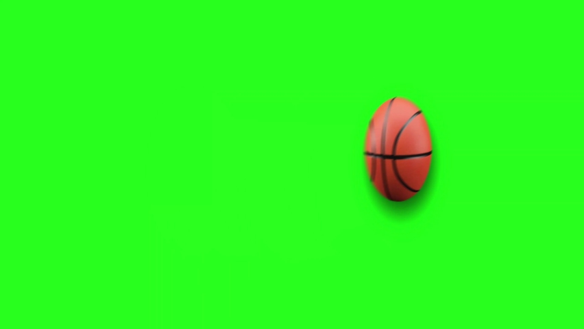 Basket ballBouncing and funny animation on Chroma Green Screen.