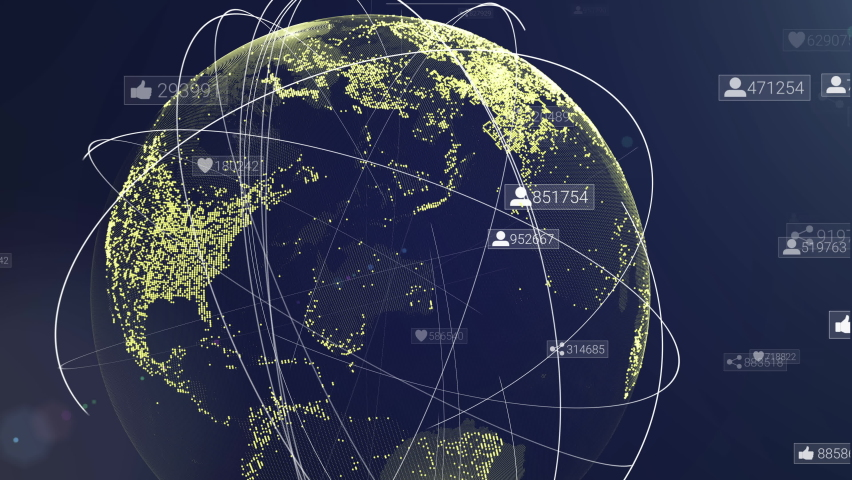 Global communication network. Animation of digital earth map. Digital background with social media signs. Worldwide communication technology. Global world telecommunication network. Data concept Royalty-Free Stock Footage #1060042100