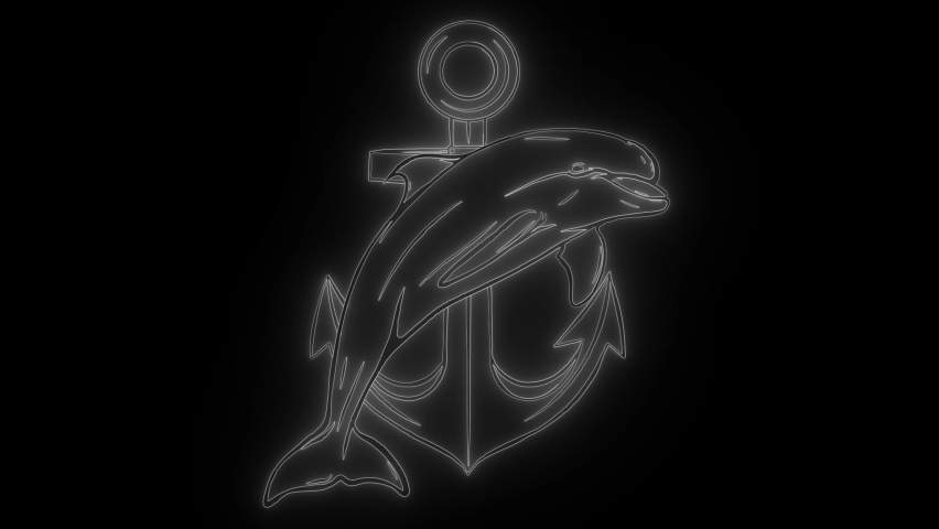 dolphin around an anchor, an ancient symbol of the sea, digital neon video #1060046744