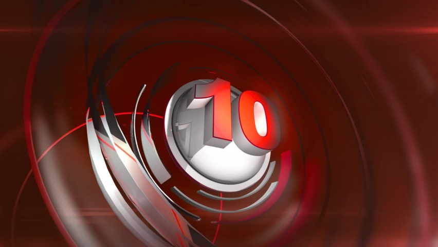 Countdown timer counting down from 10 to 0. 3D Countdown animation & motion graphics. Royalty-Free Stock Footage #1060048412