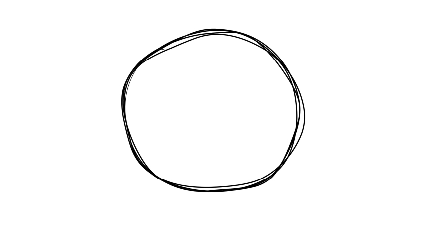 Empty circle spinning sketch doodles being animated. Hand-drawn moving scribble on white background. | Shutterstock HD Video #1060052642