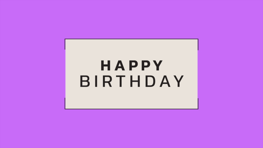 Animation intro text Happy Birthday on purple fashion and minimalism background with geometric frame. Elegant and luxury dynamic style for holiday and corporate template | Shutterstock HD Video #1060055537