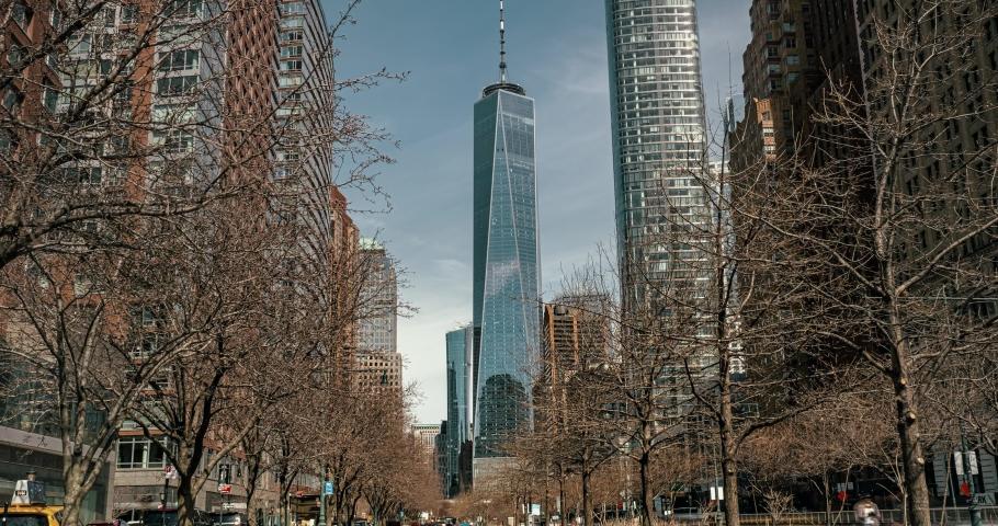 Daylight Hyperlapse Walking Toward to One World Trade Building In Lower Manhattan   Shutterstock HD Video #1060058147