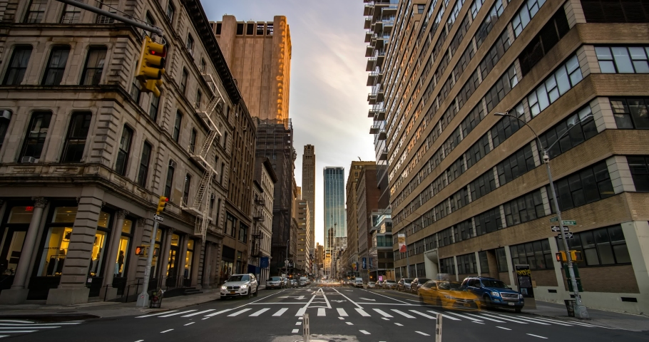New York City - USA - Feb 19 2020: Day to Night Timelapse Sunset Rush Hour Traffic on Church Street in TriBeCa District | Shutterstock HD Video #1060058177
