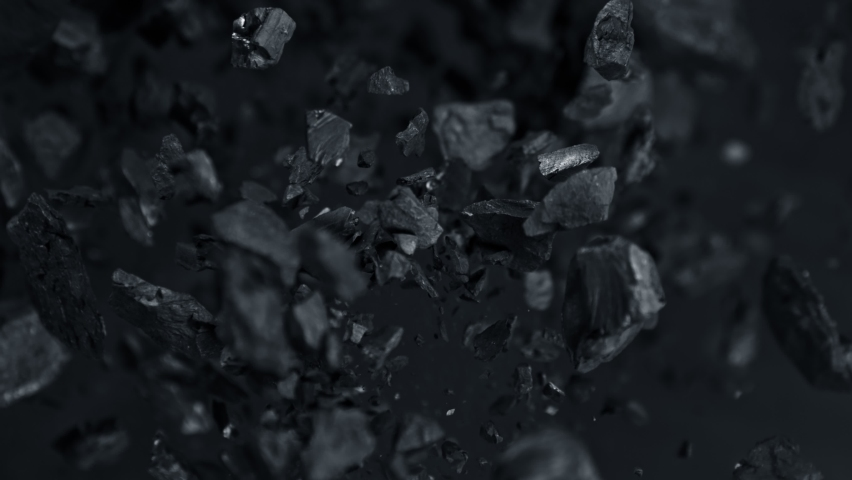 Super Slow Motion Shot of Coal Explosion Isolated On Black Background at 1000 fps. | Shutterstock HD Video #1060088198
