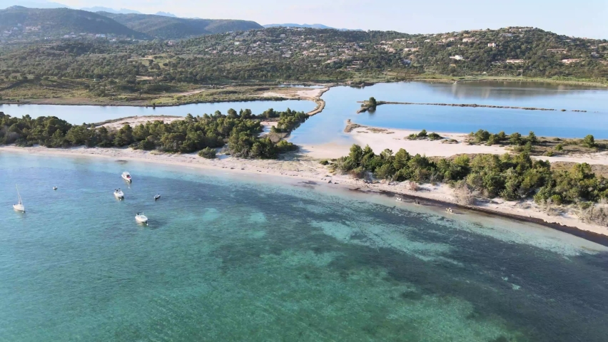 Footage from the drone of the Pinarellu beach in Corsica that separates the mediterranean sea from a pond