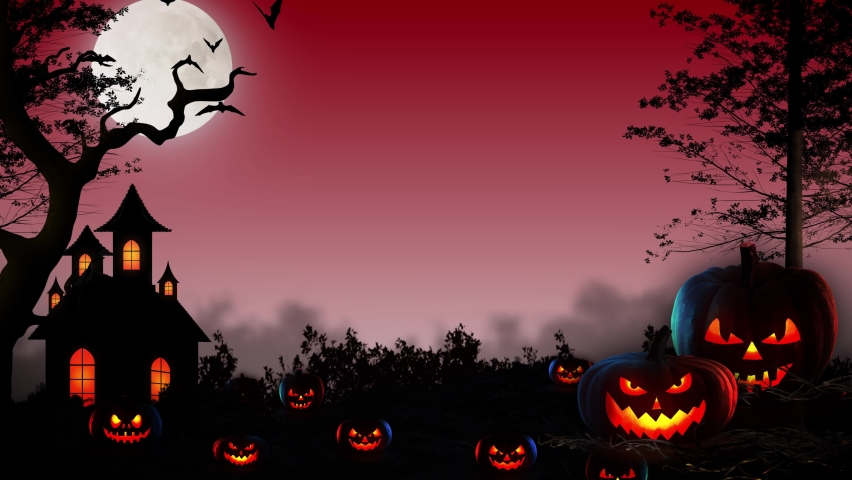 Red Halloween Background 4K animation - RED Horror Halloween background with Pumpkins & haunted house and flying bats - Halloween October holiday Backdrop  | Shutterstock HD Video #1060094054
