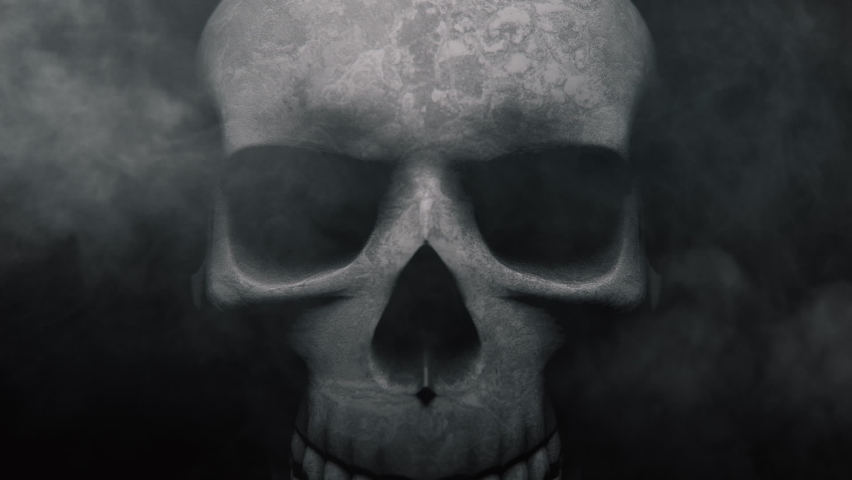 Animation of the appearance of a skull from the darkness. Horror scene.   Shutterstock HD Video #1060104878