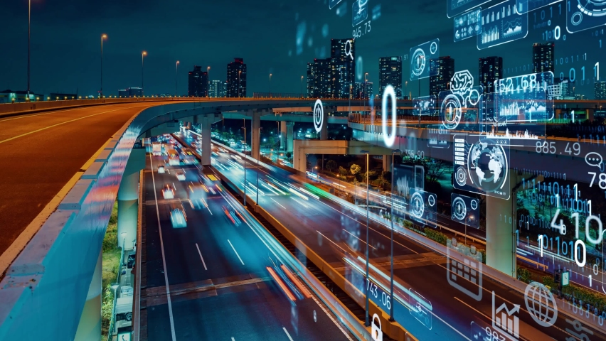 Transportation and technology concept. ITS (Intelligent Transport Systems). Mobility as a service. Royalty-Free Stock Footage #1060129412