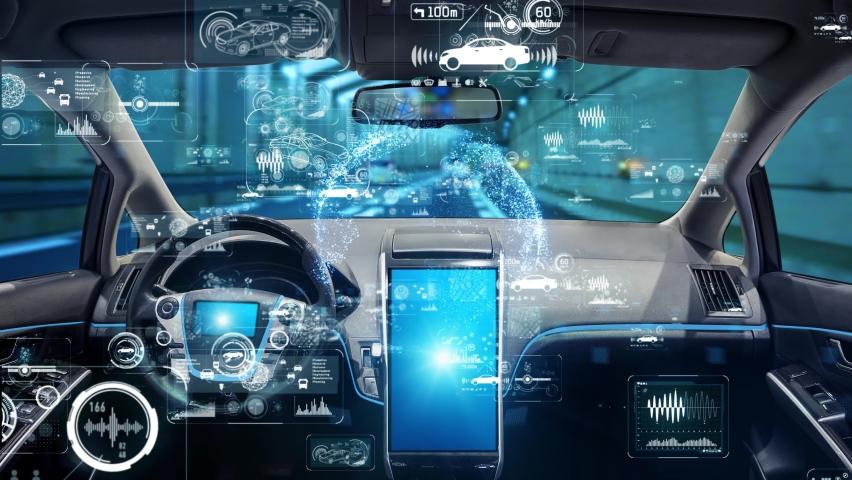 Interior of autonomous car. Driverless vehicle. Royalty-Free Stock Footage #1060129436