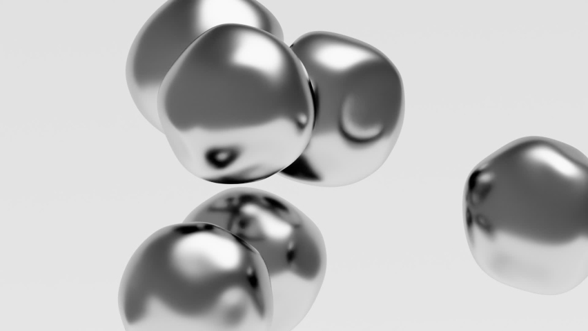 Liquid bubbles levitation 3d render. Smooth morphing spheres movement. Vivid animation of elastic glossy shapes flowing. Flexible objects deformation. 30 fps - 1920x1080 - ProRes HQ | Shutterstock HD Video #1060139411