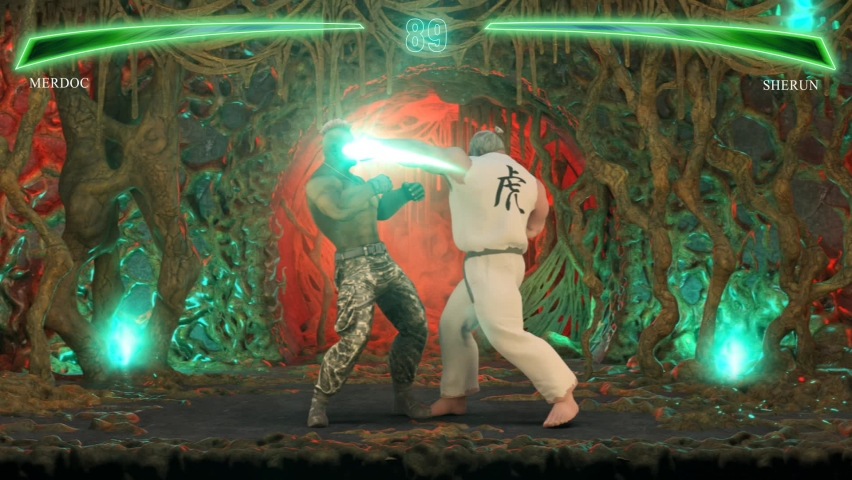Fighting Video Game Part II: Kombat. Fantastic Duel Game Between Two Warriors In The Scenery Of Alien Biomass. 3d Generated And Rendered Video