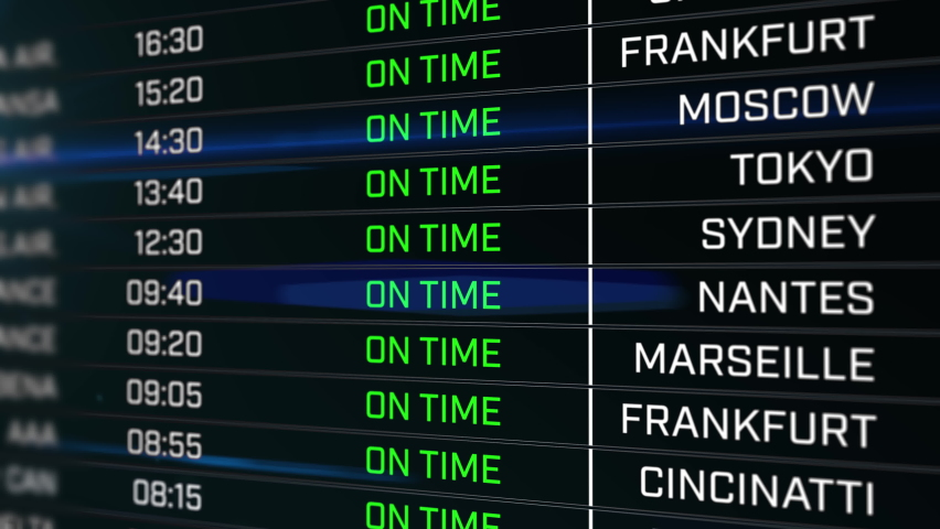Airport Tab showing flights being delayed and canceled Royalty-Free Stock Footage #1060153886