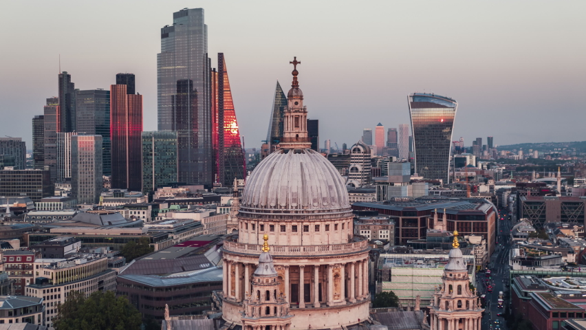 Establishing Aerial View Shot of London UK, St Paul's Cathedral & The City of London, amazing colors during sunset, United Kingdom | Shutterstock HD Video #1060156871