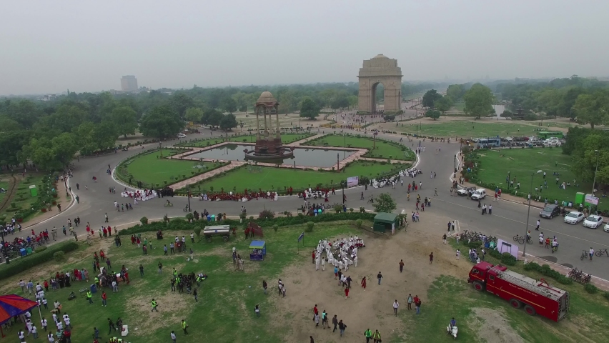 An aerial drone shot of India Gate in New Delhi, India Royalty-Free Stock Footage #1060160165