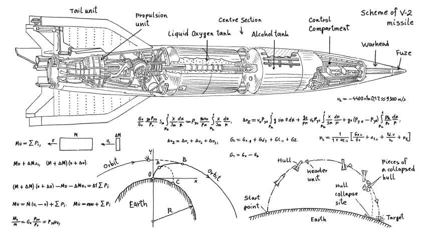 2D sketch of V-2 missile. Drawing, calculations, formulas drawn manually. Sectional drawing of a German V-2 rocket. Rocket of World War 2, 1944-45.