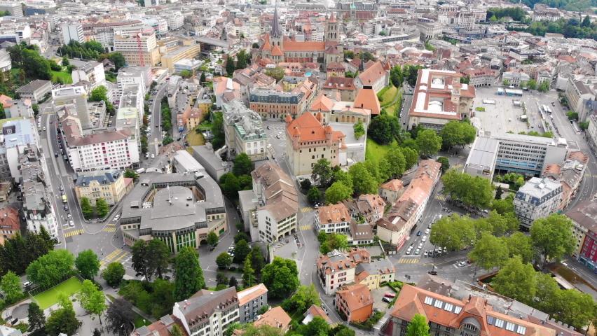 Aerial view of Lausanne town, Switzerland   Shutterstock HD Video #1060164608