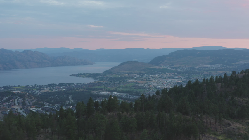 View of West Kelowna and Okanagan Lake from top of Mount Boucherie aerial