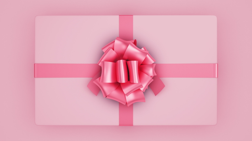 Opening Beautiful Gift Box with Ribbons and Big Bow. 4 videos in 1. Unpacking Present Parcel 3d Animation Elements on Green Screen Alpha and Mask Channels. Untying Decorative Knot. 4k UHD 3840x2160.