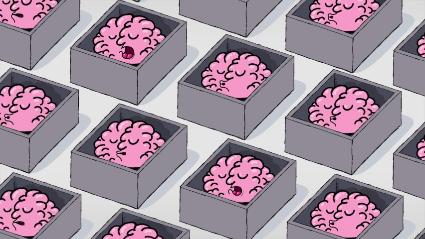 Cartoon brains in boxes. They are sleeping. Seamles loop. Metaphor of a passive futuristic society. | Shutterstock HD Video #1060214201