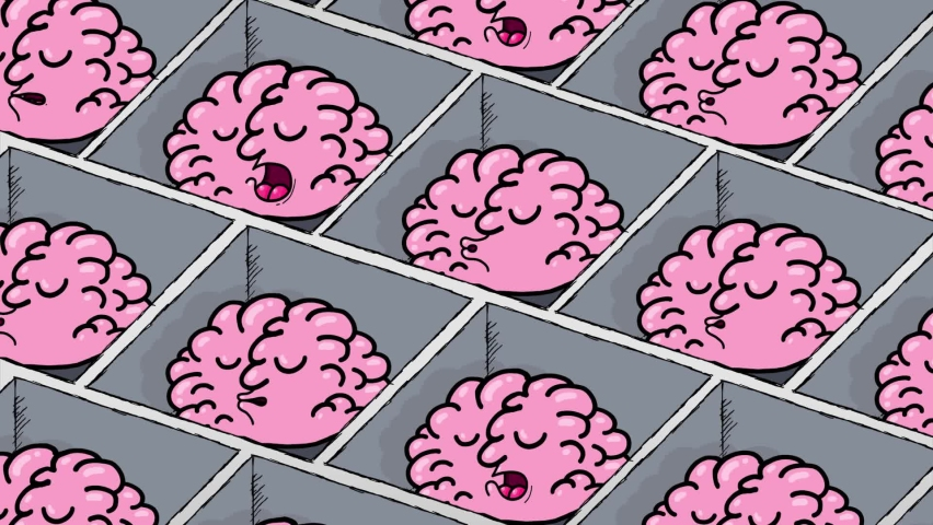 Cartoon brains in cubicles in a big never ending office. They are sleeping. Seamles loop. Metaphor of a passive futuristic society. | Shutterstock HD Video #1060215029