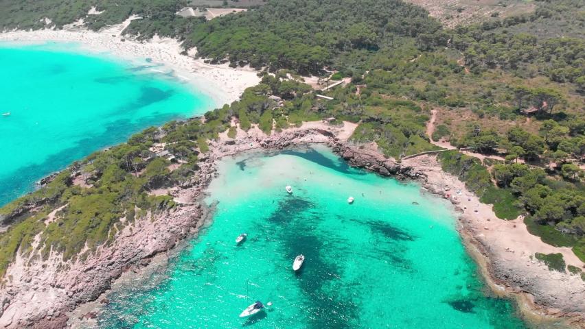 Cala Agulla sand beach Spain, Balearic Islands, Mallorca, Cala Rajada   Shutterstock HD Video #1060246931